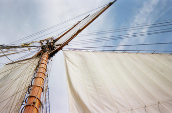 Pride of Baltimore II's canvas wings spread on the wind