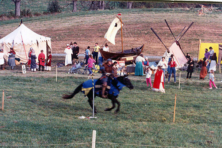 Markland's Medieval Faire: Longship Company's faering 'Gyrfalcon' behind us...